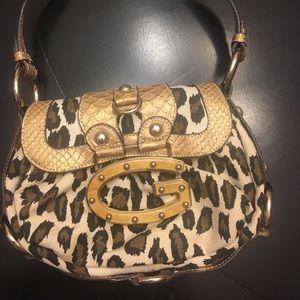 Guess handbag animal print with gold chain